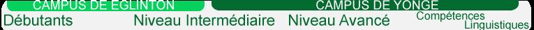Eglinton Campus, Yonge Campus, Beginner, Intermediate, Advanced and Proficiency Level of English intensive program at Hansa. French. CAMPUS DE ENGLINTON, CAMPUS DE YONGE, Débutants, Niveau Intermédiaire, Niveau Avancé, Compétences Linguistiques.