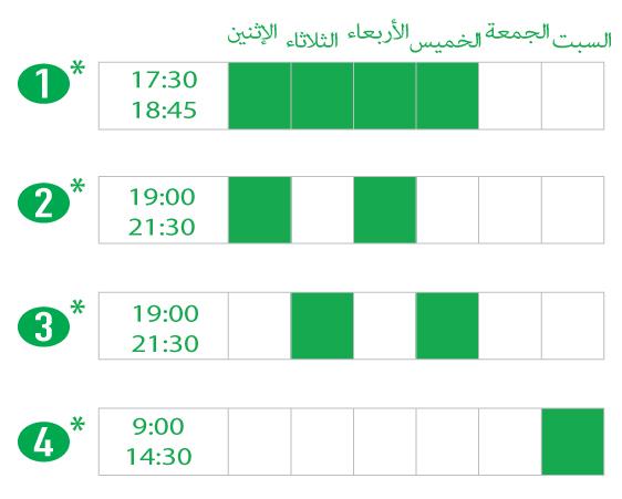 دوام جزئي أو دوام كامل في الليل وفي أيام السبت. Evening and Saturday Hansa Schedule options.