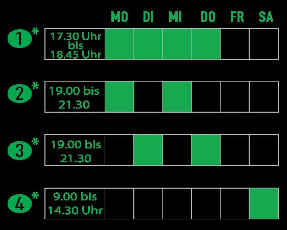 Teilzeit- oder Vollzeitklassen nachts und am Samstag. Evening and Saturday Hansa Schedule options.