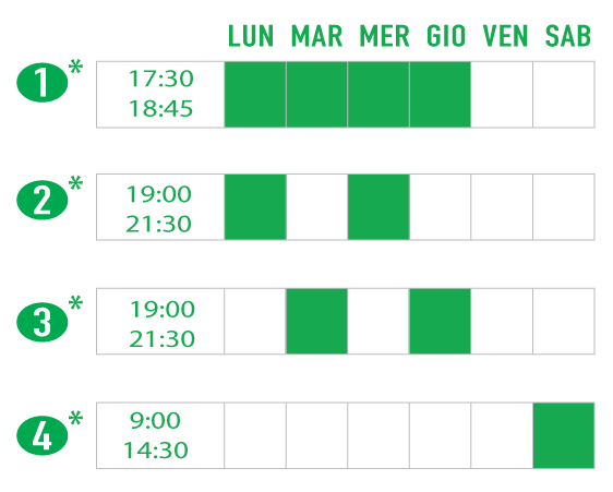Evening and Saturday Hansa Schedule options. Programma a tempo parziale oppure a tempo pieno in orario serale e sabato.