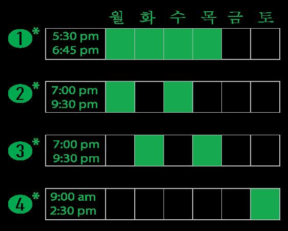 Evening and Saturday Hansa Schedule options. 저녁&토요일 파트타임 또는 풀타임 영어 수업.
