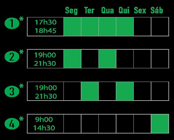 Evening and Saturday Hansa Schedule options. Aulas de tempo integral ou meio período à noite e aos sábados.
