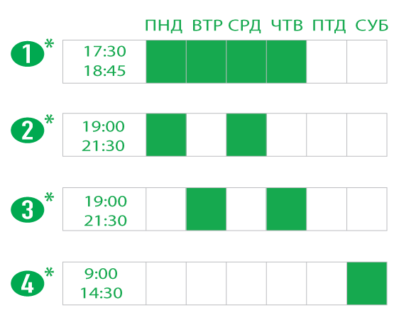 Полная или сокращённая программа вечерних и субботних занятий. Evening and Saturday Hansa Schedule options.