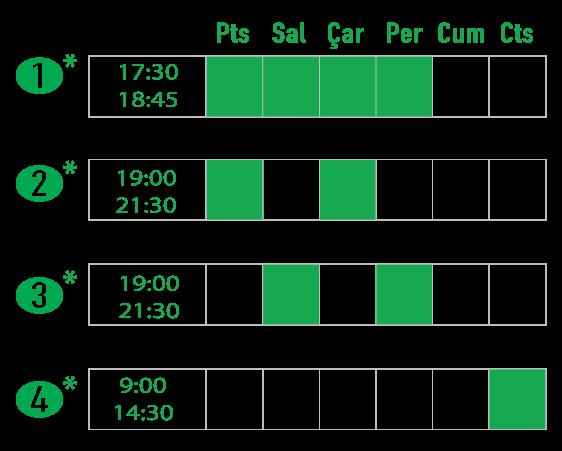 Akşam & Cumartesi tam gün veya yarım gün dersler. Evening and Saturday Hansa Schedule options.