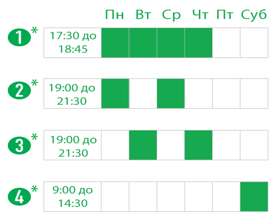 Скорочені або повні заняття у вечірній час та в суботу. Evening and Saturday Hansa Schedule options .