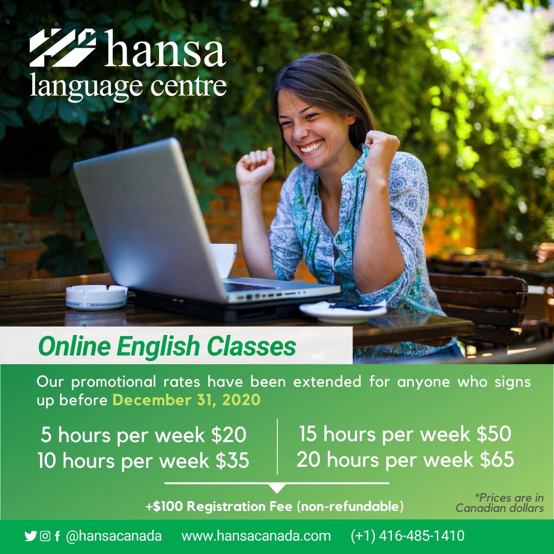 Online, online classes, hansa online, english classes, english online, english class,