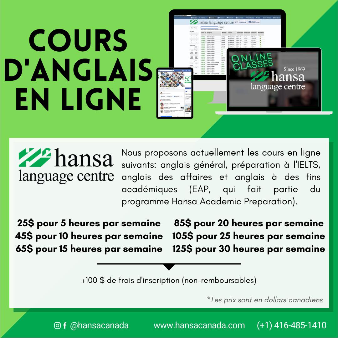 Online, online classes, hansa online, english classes, english online, english class, anglais général, préparation à l'IELTS, anglais des affaires et anglais à des fins académiques (EAP, qui fait partie du programme Hansa Academic Preparation),